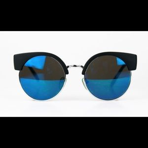 ASOS Women's Blue Mirror Lens Round Sunglasses.